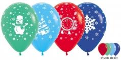 Новый год Ассорти (снеговик, снежинка, куранты, елка), Ассорти Пастель, 5 ст.