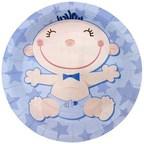 Тарелки бумажные ламинированные С днем Рождения, Малыш голубые