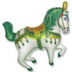 Нарядная лошадь зеленая