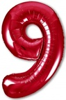 Шар ЦИФРА 9 Slim красный
