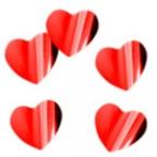 Конфетти Сердца фольг красные  2см 300гр/уп