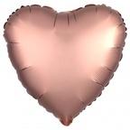 """Р Сердце 18""""/46см Розовое золото сатин"""