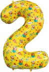 Шар (34''/86 см) Цифра, 2 Три Кота, Желтый