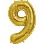 """Шар Цифра """"9"""" Золото / Nine"""