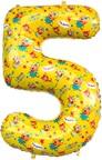 Шар (34''/86 см) Цифра, 5 Три Кота, Желтый