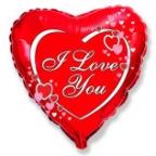 Шар Сердце / Я тебя люблю сердца рядом с надписью