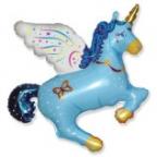 Шар Единорог синий