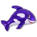 Шар Дружелюбный кит фиолетовый 35 дюймов