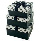 """Набор коробок 3 в 1 """"Монохром"""" с бантом / квадрат"""