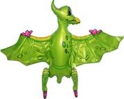 Шар (32''/81 см) Ходячая Фигура, Динозавр Птеродактиль, Зеленый
