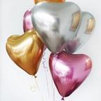 Шар Сердце Хром сатин ассорти ( золото, серебро, розовый)